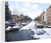Canvas Schilderij Brouwersgracht Amsterdam - De Brouwersgracht in Amsterdam in de winter canvas - 140x90 cm - Foto print op Canvas schilderij (wanddecoratie woonkamer / slaapkamer)