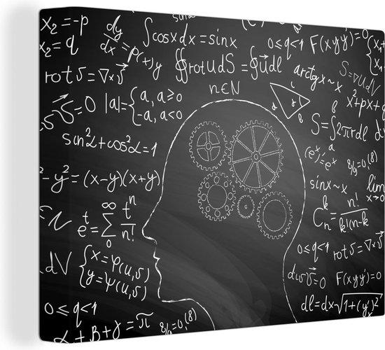 Een kunstmatige illustratie van het menselijk brein canvas 40x30 cm - klein - Foto print op Canvas schilderij (Wanddecoratie woonkamer / slaapkamer)