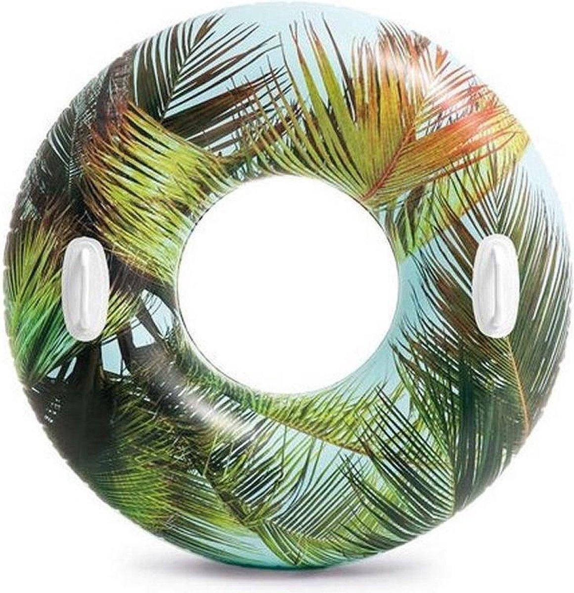Opblaasbare palmbladeren zwemband/zwemring 97 cm - Zwembenodigdheden - Zwemringen - Tropisch thema - Palmblad zwembanden voor kinderen en volwassenen