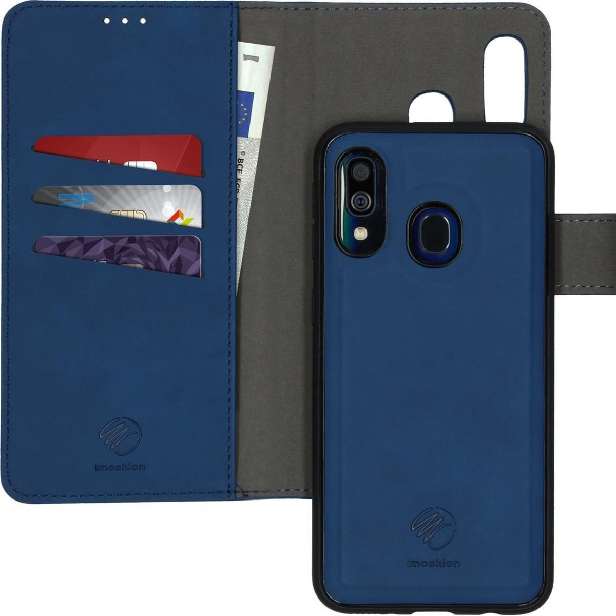 Afbeelding van product iMoshion Uitneembare 2-in-1 Luxe Booktype Samsung Galaxy A40 hoesje - Donkerblauw