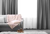 LIFA LIVING Gordijnen - Zilvergrijs - Verduisterend & Geluidswerend - Ringen - 100% Polyester - 150 X 250 cm