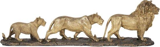 Clayre & Eef | Decoratie leeuwenfamilie 64*10*18 cm | Goudkleurig | Polyresin | Leeuwen | 5PR0058