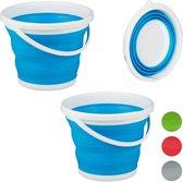 relaxdays 2 x opvouwbare emmer - 10 liter - opvouwbaar - flexibel - camping – draagbaar