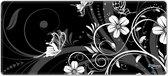 Muismat xxl gaming witte bloemen 90 x 40 cm - Sleevy - mousepad - Collectie 100+ designs
