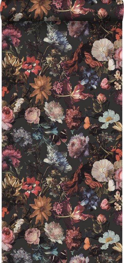 ESTAhome behangpapier bloemen donkergrijs - 139172 - 0.53 x 10.05 m