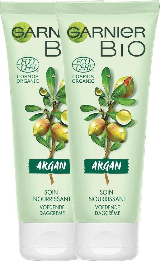 Garnier Bio Voedende Gezichtscrème met Rijke Argan - 2 x 50 ml - Dagcrème voor de droge, gevoelige huid - Multiverpakking