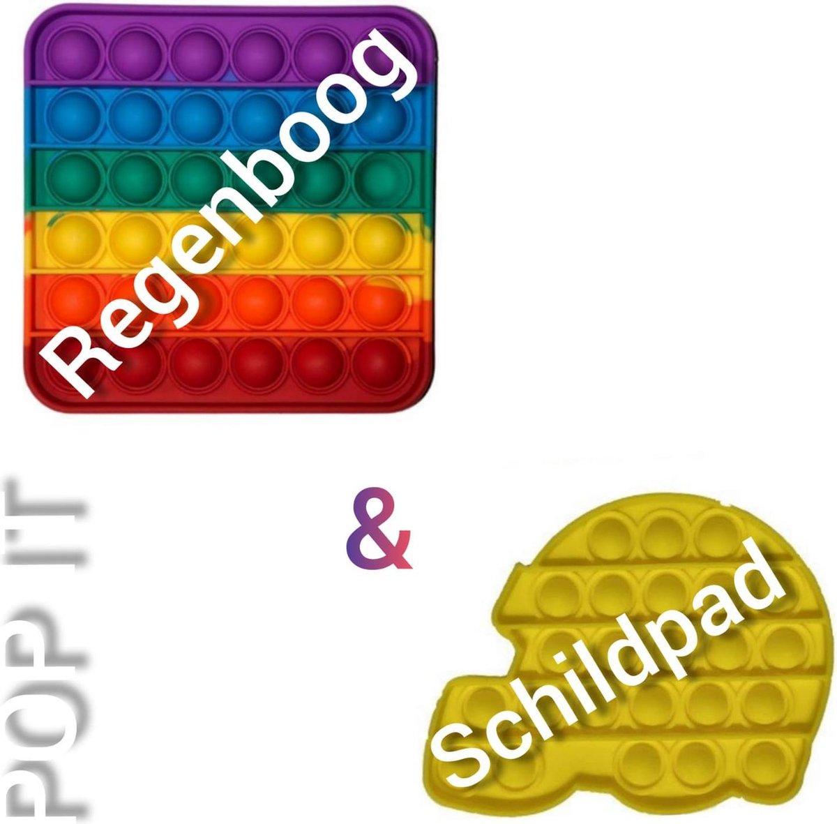 Pop it | Fidget toys pakket | Regenboog vierkant + Schildpad geel | Meisjes jongens volwassenen | Anti stress | Cadeautip _ Leuk voor zwembad