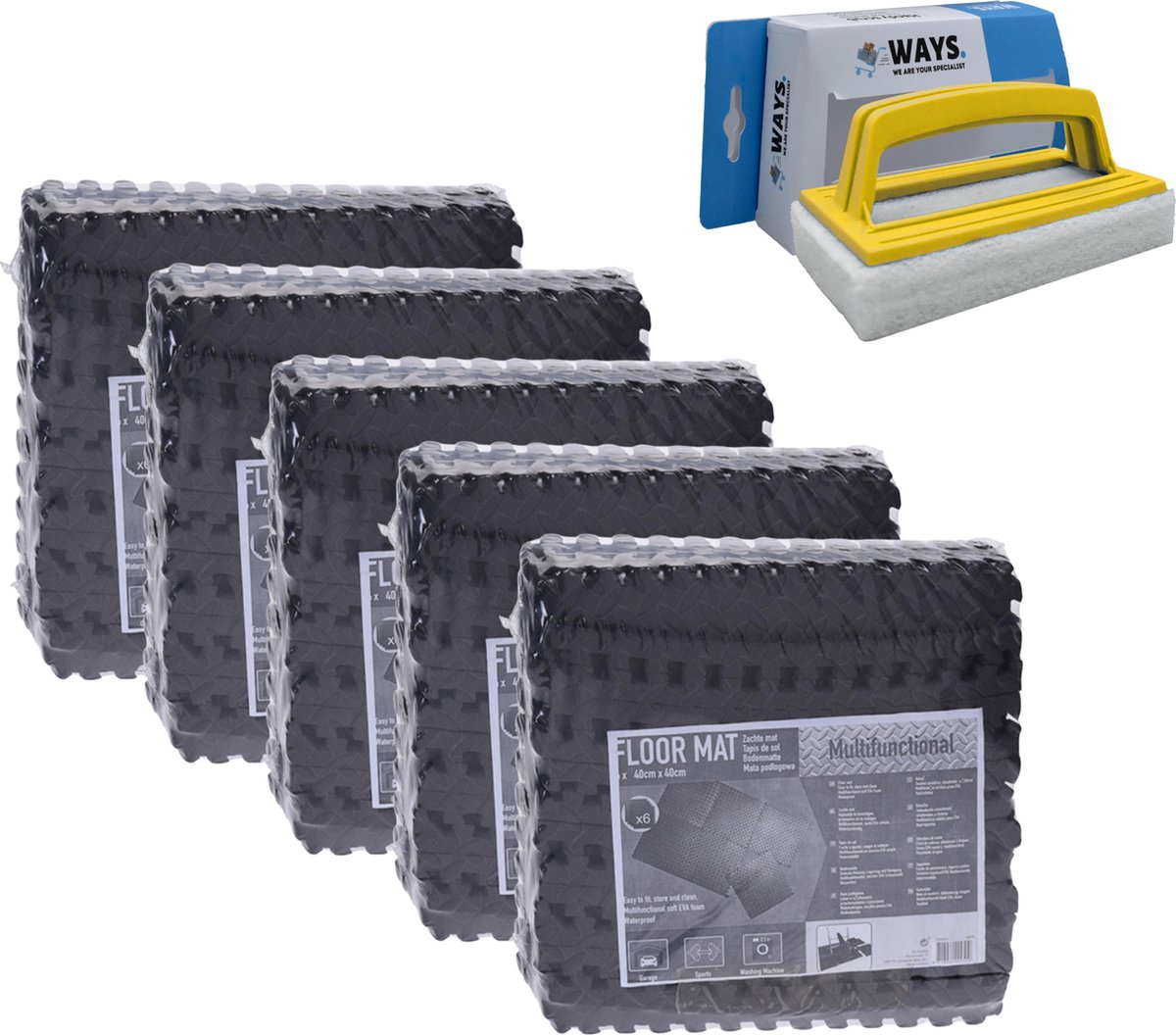Zwembadtegels - Voordeelverpakking - 5 verpakkingen van 6 tegels - 40x40 cm & WAYS scrubborstel