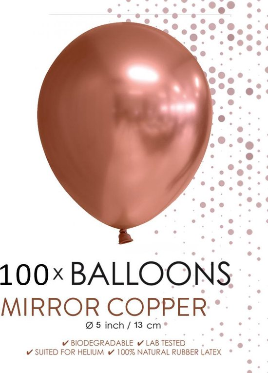 100 chrome 5 inch kleine ballonnen koper.