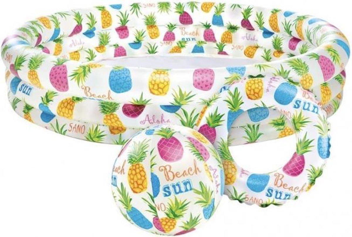 Intex opblaaszwembad set fish bowl - 3-delige set - zomer - water - zwembad - kinderbad - kinderzwembad - badje - strandbal - bal - zwemband - band - vakantie - zon - 132 x 28 cm - kids - kinderen - spelen