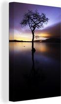 Uitzicht over het Loch Lomond meer met een kleurrijke hemel Canvas 60x90 cm - Foto print op Canvas schilderij (Wanddecoratie woonkamer / slaapkamer)