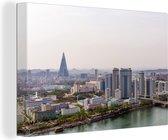 Skyline van Pyongyang in Azië Canvas 180x120 cm - Foto print op Canvas schilderij (Wanddecoratie woonkamer / slaapkamer) XXL / Groot formaat!