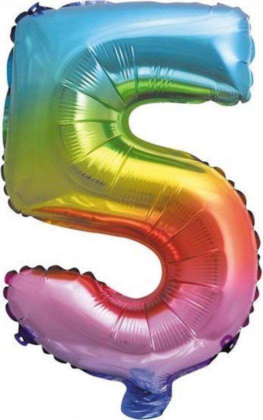 Folie Ballon Cijfer 5 Regenboog XL 86cm leeg