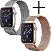 Geschikt Voor Apple Watch Bandje Zilver/Rosé Goud Milanese - Band Voor Apple Watch Met Magneetsluiting - Horloge Bandje Milanees 38/40 mm