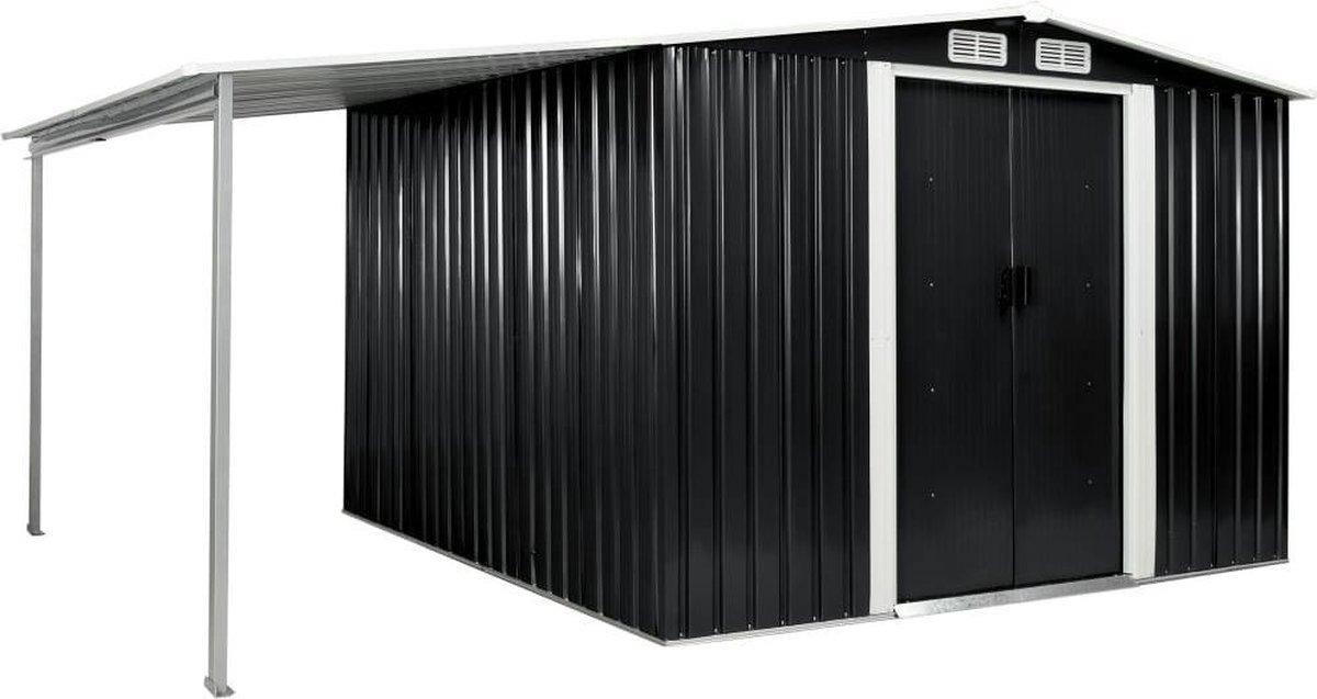 VidaXL Tuinschuur met schuifdeuren 386x259x178 cm staal antraciet VDXL_144030 online kopen