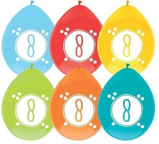 Haza Original Ballonnen Cijfer 8 Latex 30 Cm 6 Stuks