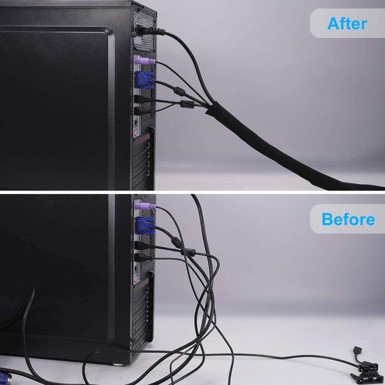 kabelbeschermer - ZINAPS Cable Tube, 2 x 1,5 m, aanpasbare, flexibele Cord Organizer, Kabel Cover, het beveiligingssysteem voor DES TV, Computer, Home Cinema (150 x 13,5 cm, 150 x 10,2 cm)