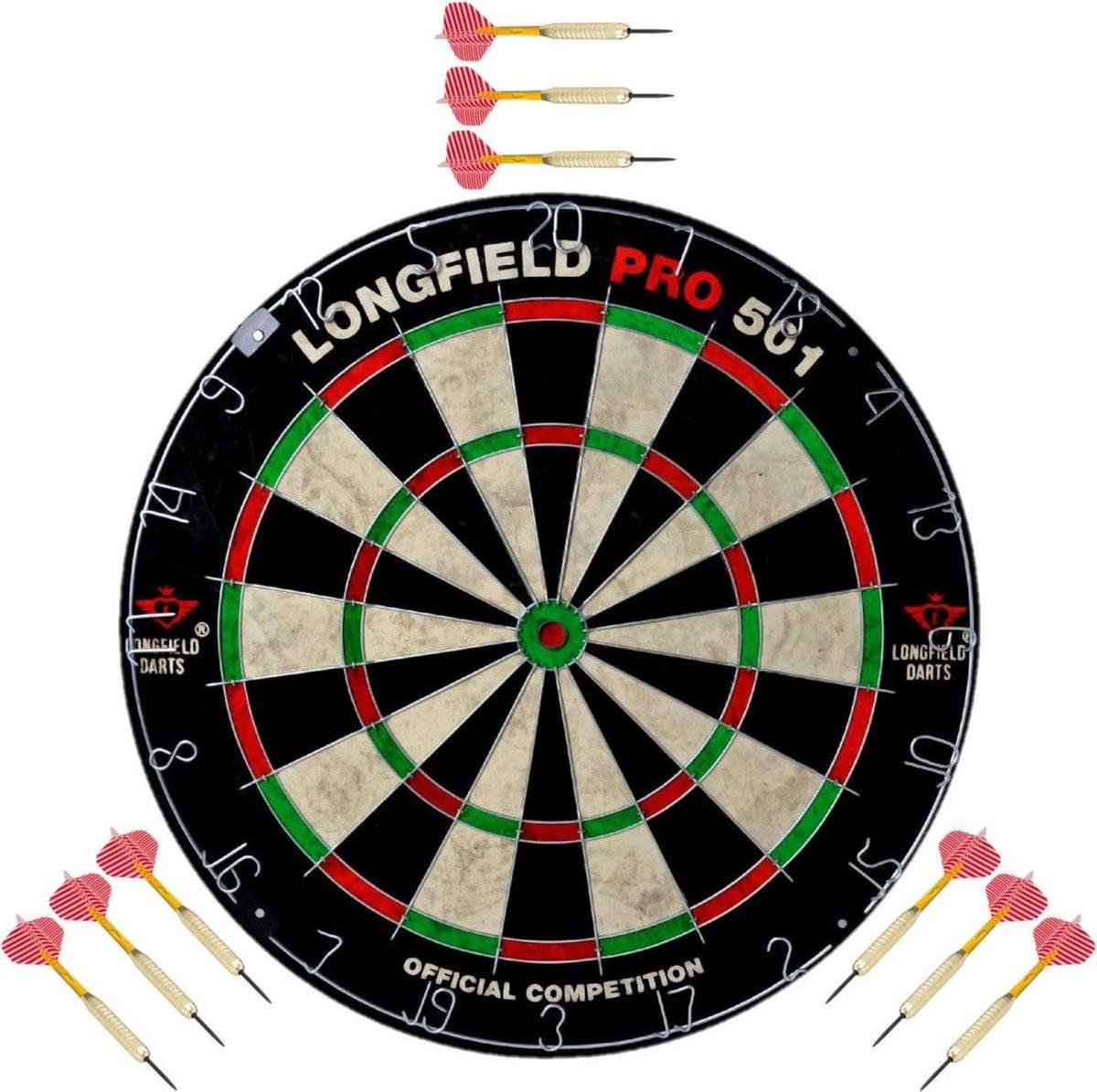 Dartbord set compleet van diameter 45.5 cm met 9x dartpijlen van 25 gram - Longfield professional - Darten