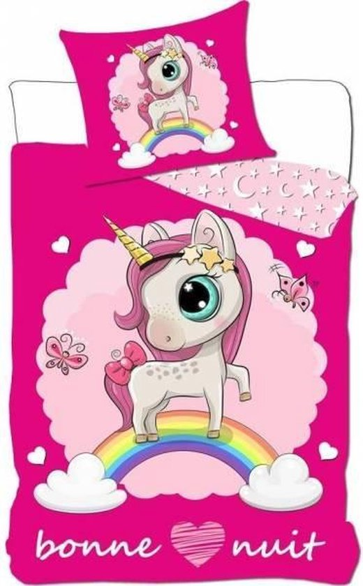 unicorn-Eenhoorn-dekbedovertrek voor meisjes eenpersoons dekbed-Topkwaliteit-200x140cm