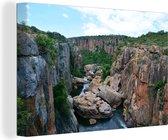 Canvas Schilderijen - Bourke's gelukkuilen bij Afrikaanse rivieren in Zuid-Afrika - 180x120 cm - Wanddecoratie XXL /