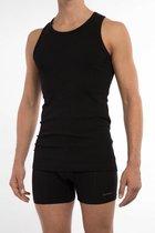 Claesen's Rib Singlet Heren Hemd Zwart 2-Pack - M