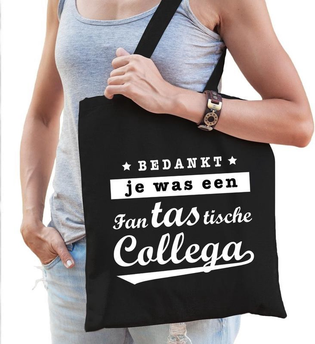 Cadeau tas zwart katoen met de tekst Fantastische collega - kadotasje / shopper voor collega dames