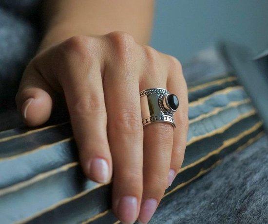 Zilveren Bali style BOHO ring Black Onyx - Leelavadee Jewelry