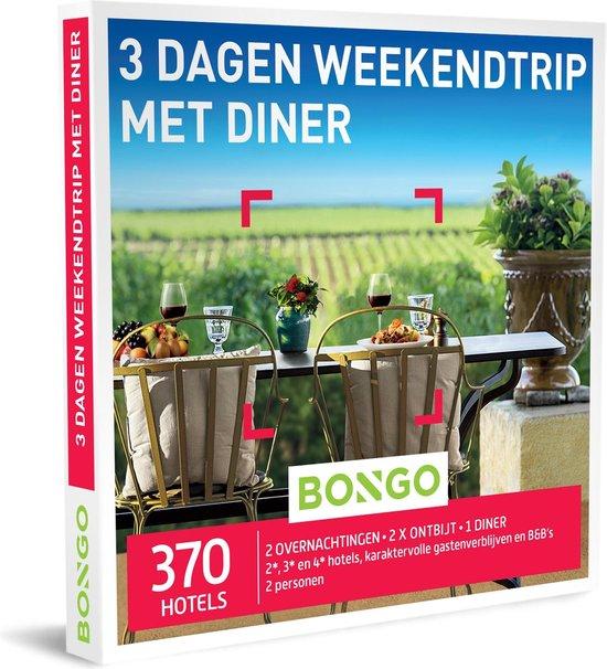 Bongo Bon Nederland - 3 Dagen Weekendtrip met Diner Cadeaubon - Cadeaukaart cadeau voor koppels   370  hotels in de stad of midden in de natuur
