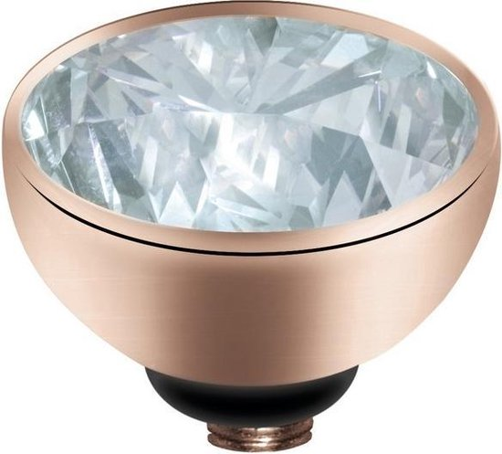 Melano twisted steen rond - Roségoudkleurig + Crystal - Dames - 8mm