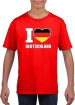 Rood I love Duitsland fan shirt kinderen M (134-140)