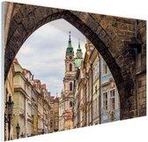 Historisch centrum Praag Glas 180x120 cm - Foto print op Glas (Plexiglas wanddecoratie) XXL / Groot formaat!