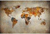 Artistieke wereldkaart op canvas Klein 40x30 cm | Wereldkaart Canvas Schilderij