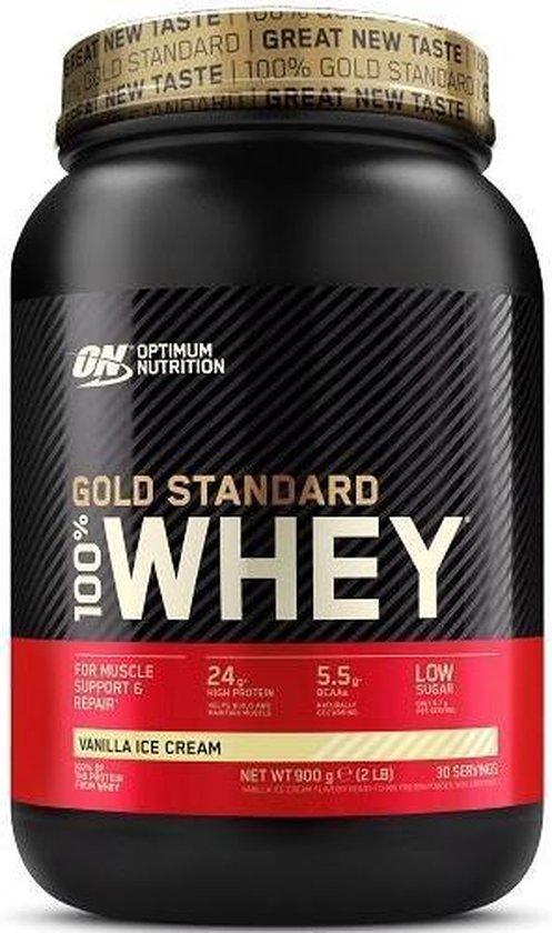 Optimum Nutrition Gold Standard 100% Whey Protein - Eiwitpoeder - Eiwitshake / Proteine Shake - Vanille Smaak - 908 gram (30 shakes) - 1 Pot