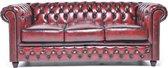 Chesterfield Bank Original Leer | 3-zits | Antiek Rood | 12 jaar garantie