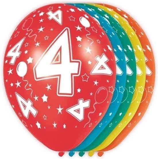 15x stuks 4 Jaar thema verjaardag versiering heliumballonnen 30 cm