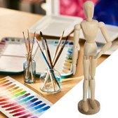 Decopatent® Tekenpop - Houten model Lendenpop - Tekenmodel pop hout - Ledepop Tekenen - Voor Volwassenen en Kinderen - 9x6x33 Cm