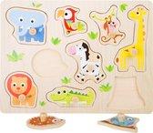 """Houten puzzel """"Dierentuin vrienden"""" - 9 puzzelstukjes - Kinderpuzzel vanaf 1 jaar - Multi"""