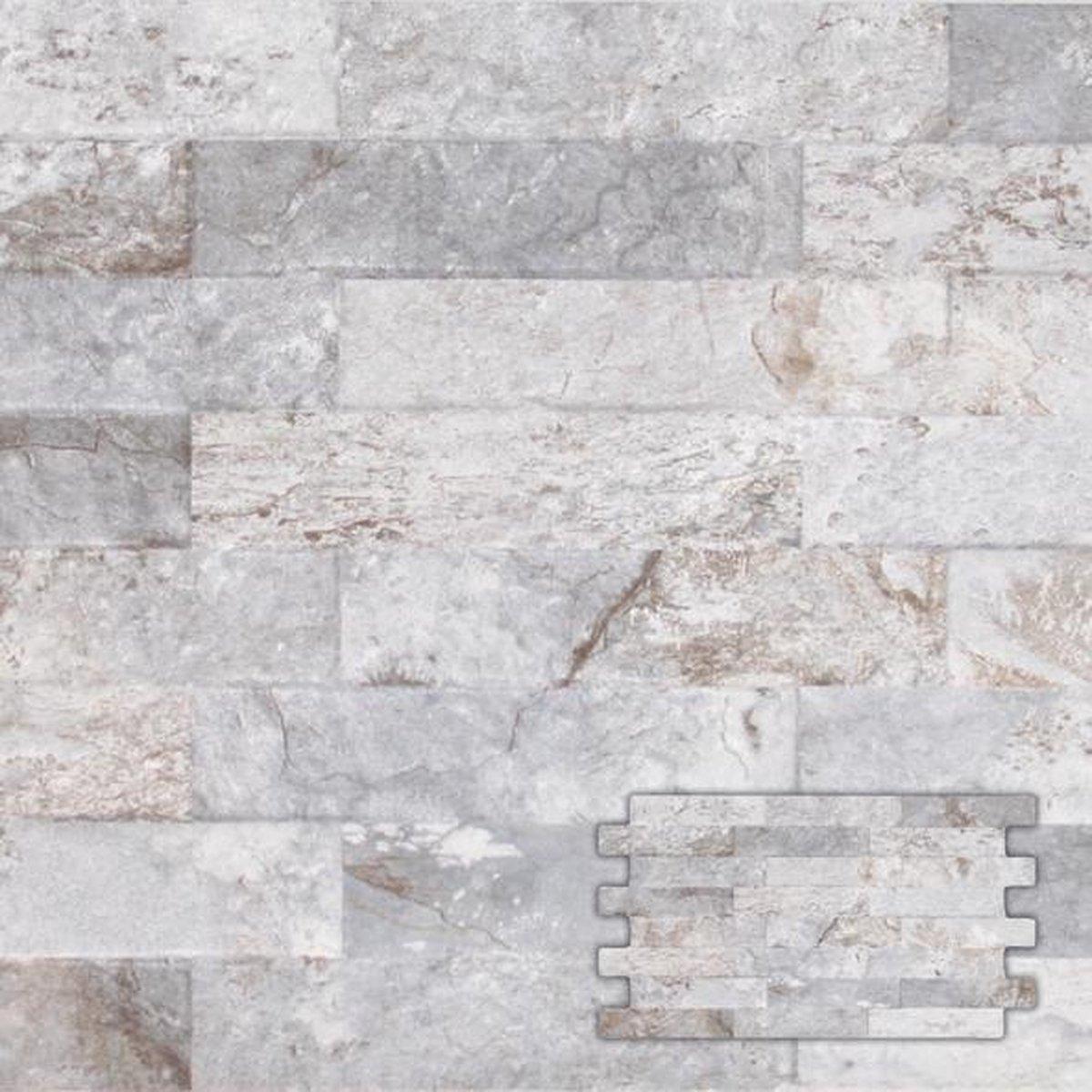 Wandtegel Interlock Farilya beton 25,0x45,0 cm   -  Grijs Prijs per 0,85 m2. - Merkloos