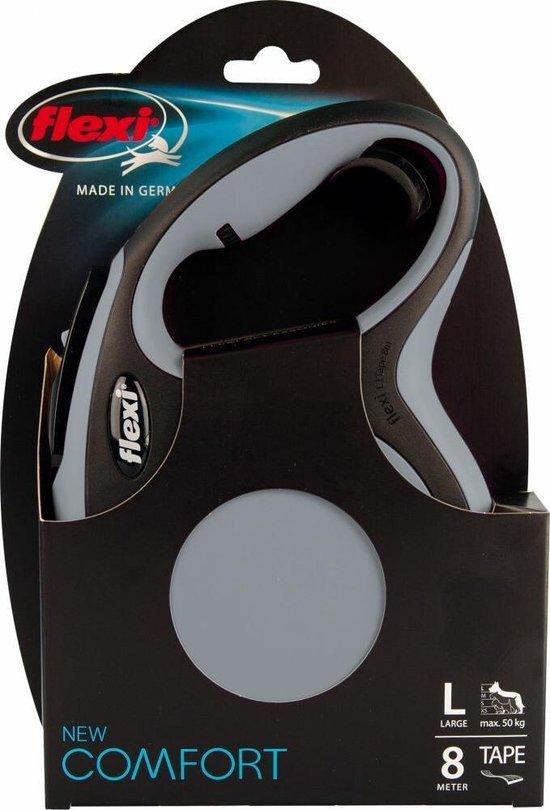 Flexi New Comfort Tape - Hondenriem - Grijs/Zwart - L - 8 m - (<50 kg)
