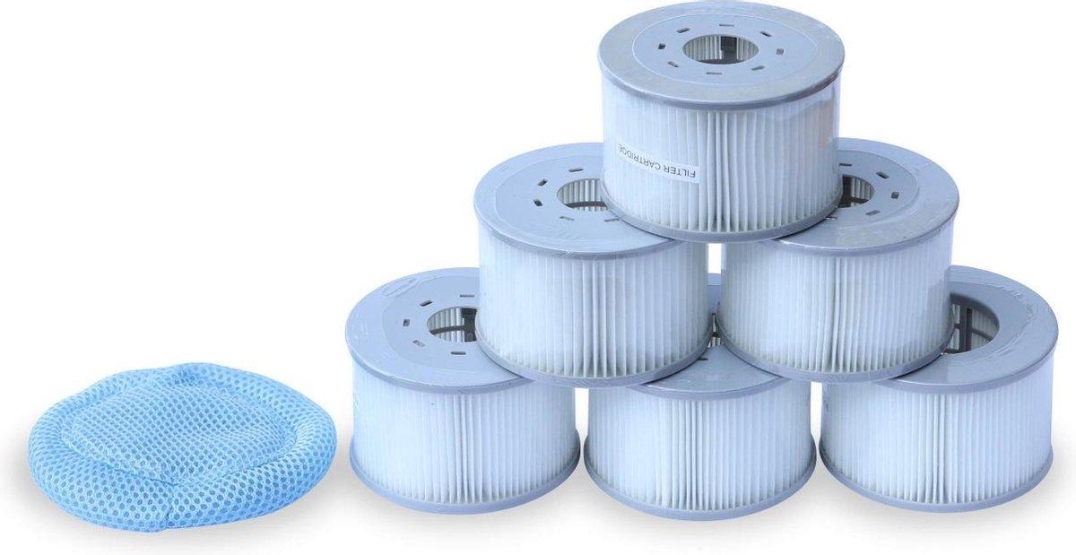 Set van 6 filter cartridges met netjes voor opblaabare spa's MSPA V2, Ø108cm - 6 vervangende filter cartridges + 1 filternet