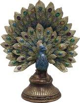 Clayre & Eef Decoratie Beeld Pauw 6PR3013 22*12*30 cm - Meerkleurig Kunststof Decoratief FiguurDecoratieve AccessoiresWoonaccessoires