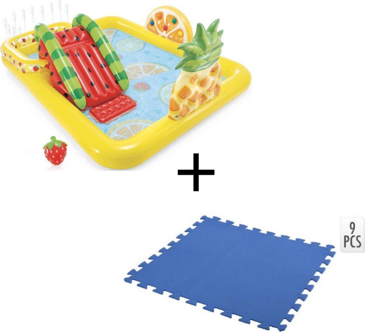 Intex Opblaasbaar Kinderzwembad - Met Glijbaan - Fruit - 244 x 191 x 91 cm + + INCL. Free And Easy Zwembadtegels Foam Blauw 9 Stuks