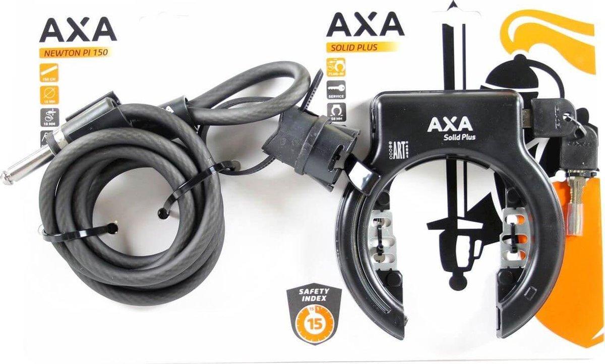 Axa Solid Plus Ringslot + Insteekketting Newton PL150 - ART2 - Zwart