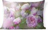 Sierkussen Roze roos voor buiten - Planten van roze rozen groeien in de natuur - 60x40 cm - rechthoekig weerbestendig tuinkussen / tuinmeubelkussen van polyester