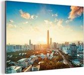 Zonsopgang in Shenzhen Aluminium 60x40 cm - Foto print op Aluminium (metaal wanddecoratie)