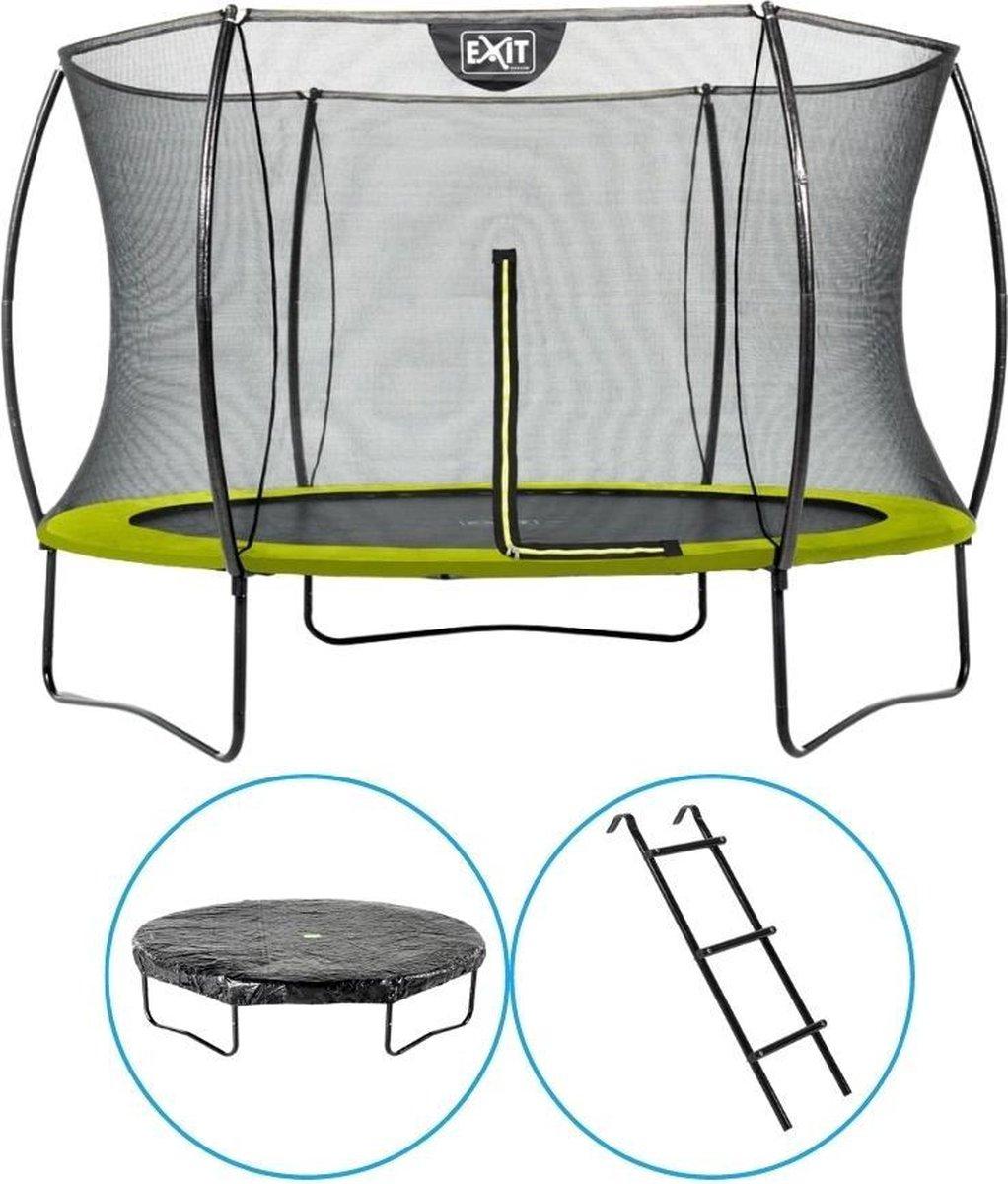 EXIT Toys - Trampoline Met Veiligheidsnet - Op Poten - Silhouette - Rond - ø305cm - Groen - Inclusief Ladder en Afdekhoes