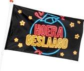 Boland Vlag Hoera Geslaagd 90 X 150 Cm Polyester Zwart