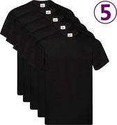 Fruit of the Loom T-shirts Original 5 st 3XL katoen zwart