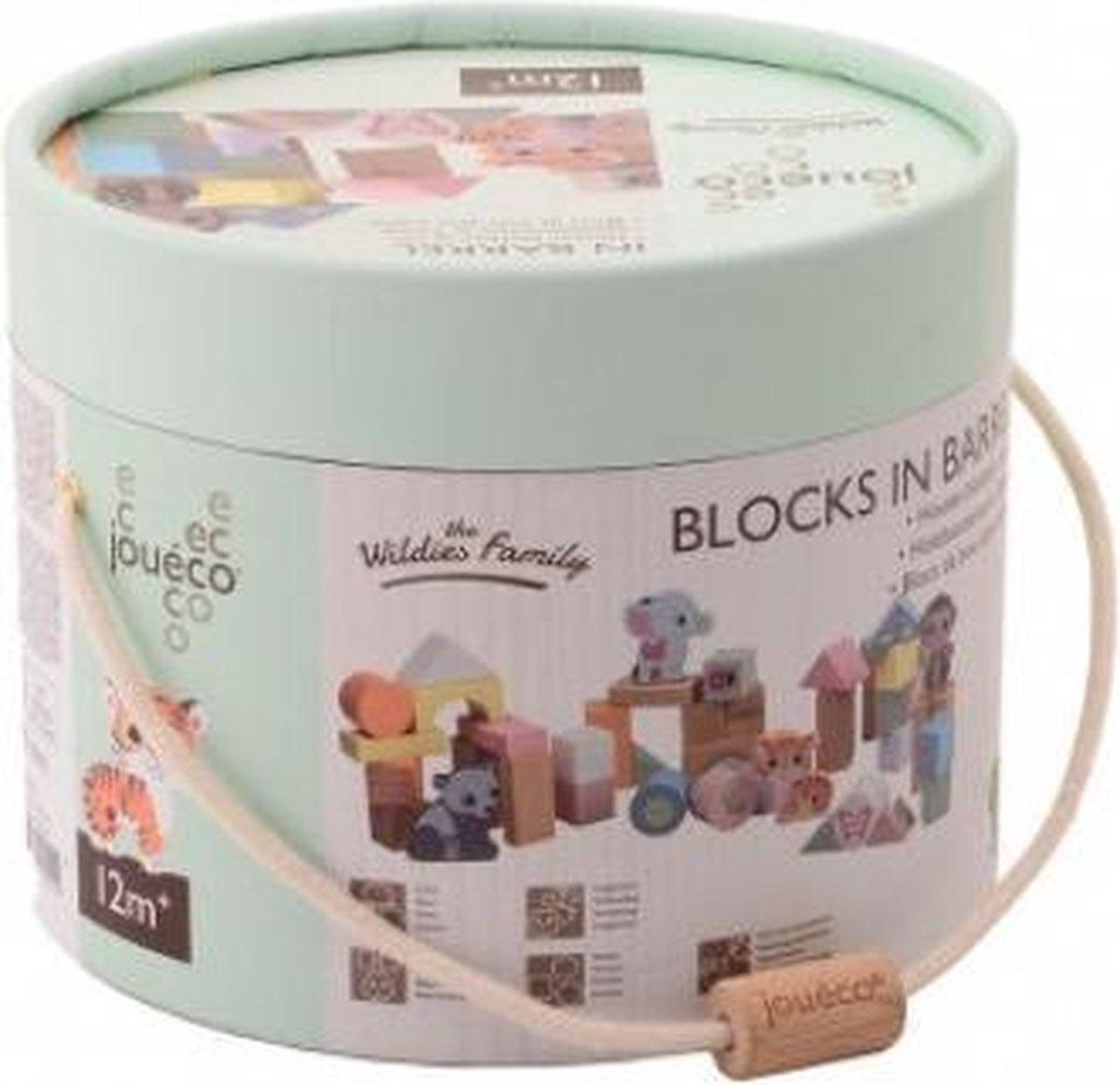 Jouéco® - The Wildies Family Houten blokken in ton 50 stuks