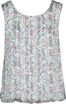 Cassis - Blouse in voile met bloemen - Blauwgroen